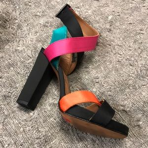 Zara multicolor and black ankle strap heels